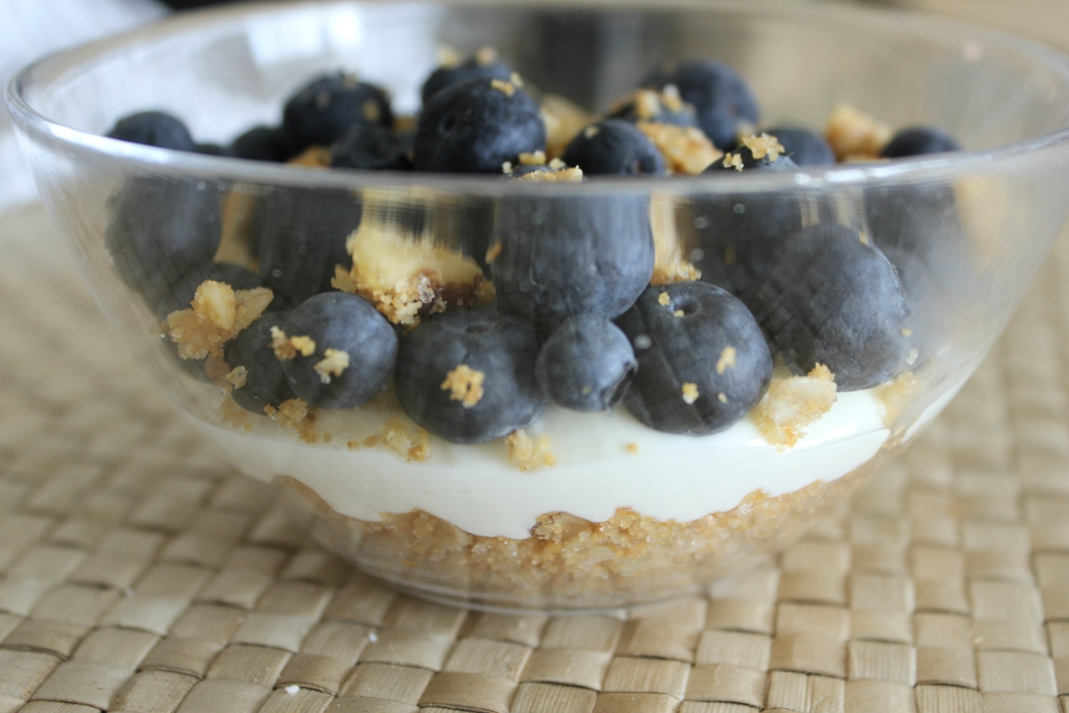 """Lightened Up"" Blueberry Walnut Cheesecake Bowls"