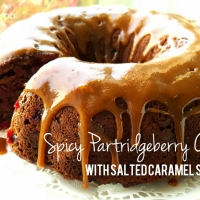Spicy Partridgeberry Cake with Salted Caramel Sauce